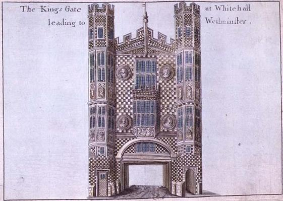 Whitehall: The Kings Gate Leading to Westminster, from 'A Book of the Prospects of the Remarkable Places in and about the City of London', c.1700
