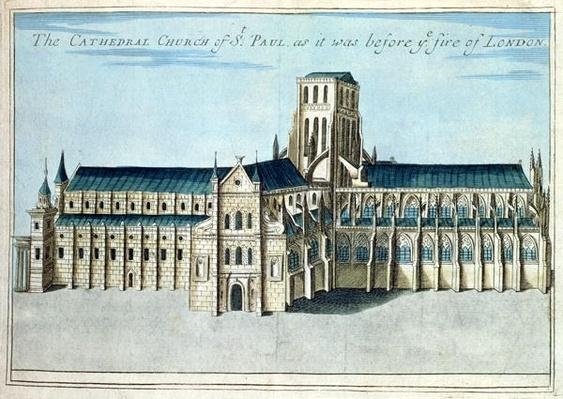 St. Paul's Cathedral before it was destroyed by the Fire of London from 'A Book of the Prospects of the Remarkable Places in and about the City of Lon