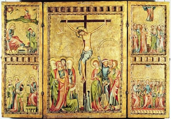 Altarpiece with the Crucifixion in the centre panel and scenes from the Life of Christ on the side panels, c.1330