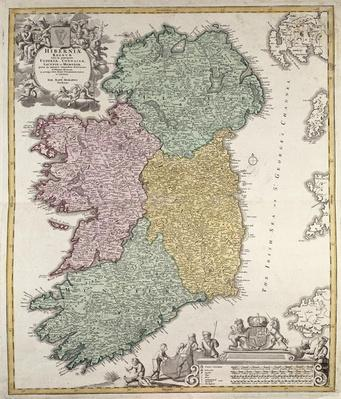 Map of Ireland showing the Provinces of Ulster, Munster, Connaught and Leinster, by Johann B. Homann, c.1730