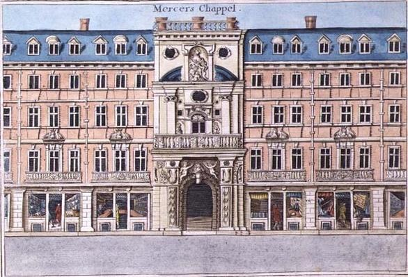 Mercers Chapel, from 'A Book of the Prospects of the Remarkable Places in and about the City of London', c.1700