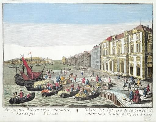 Perspective view of the Town Hall and part of the harbour at Marseille, c.1770