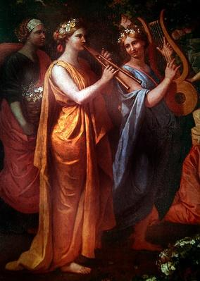 Hymenaios Disguised as a Woman During an Offering to Priapus, detail of the musicians, c.1634-38