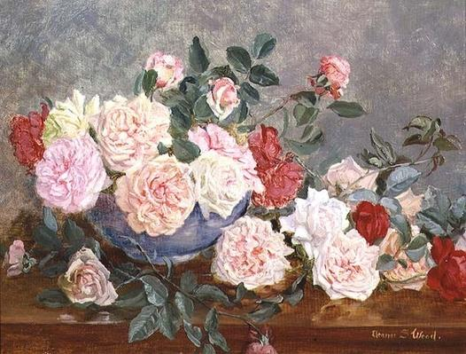 Roses in a Blue Vase, 19th century