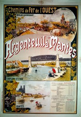 Poster advertising the Western Railway line from Argenteuil to Mantes