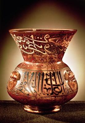 Mosque lamp with enamelled decoration inscribed and dedicated to Beybars II, 14th century