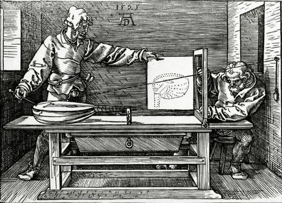 An artist drawing a lute with the aid of a perspective apparatus, illustration from Durer's 'Four Books on Measurement', published in 1525