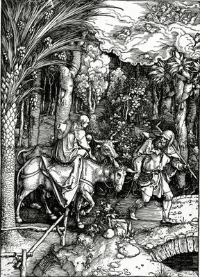 The Flight into Egypt, from the 'Life of the Virgin' series, published in 1511