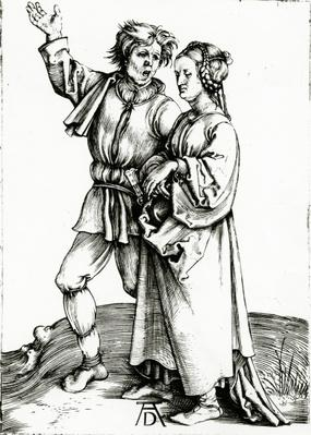 A rustic couple, engraved by Johannes Wierix, c.1565
