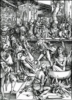 St. John the Evangelist being tortured in a vat of boiling oil, from the 'Apocalypse' series, 1498