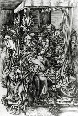 The Death of the Virgin, engraved by Wenzel von Olmutz, 1481