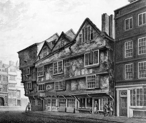 Old houses and shopfronts on Chancery Lane, London, 1798