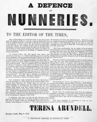 A Defence of Nunneries by Theresa Arundell, 1851
