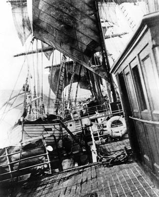 Onboard a Sailing Ship in Rough Seas,
