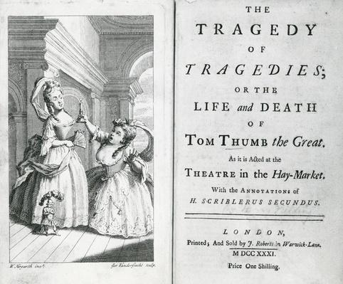 Title page of the script of Tom Thumb, 1731