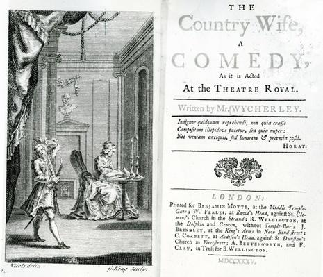 Title page of the script for The Country Wife at the Theatre Royal, 1735