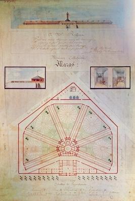 Plan of the Mazas Prison and cells for prisoners, Boulevard Mazas, Paris
