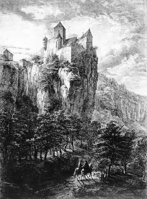 Schloss Prunn in Altmuhlthal, print by Friedrich Wilhelm Bollinger, 1818