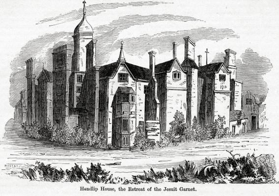Hendlip House, the Retreat of the Jesuit Garnet, illustration from John Cassell's 'Illustrated History of England vol.3'