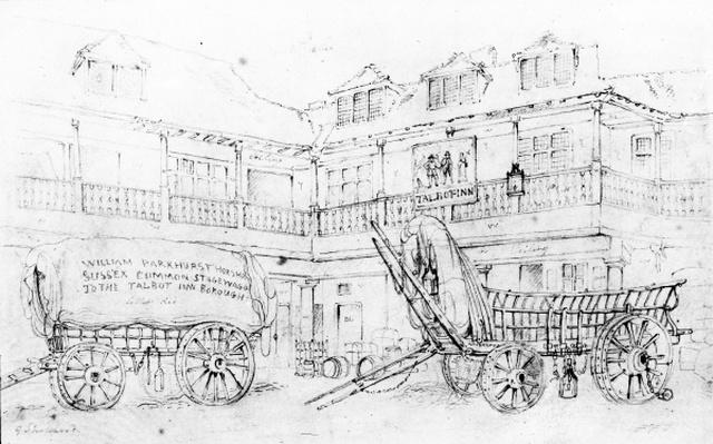 Inn Yard of the Talbot Inn, Southwark, 1810