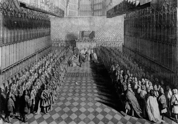 Prince William offering his sword to the Dean, at the Altar, the Knights Standing under their Banners, published in 1730, engraved by J. Pine