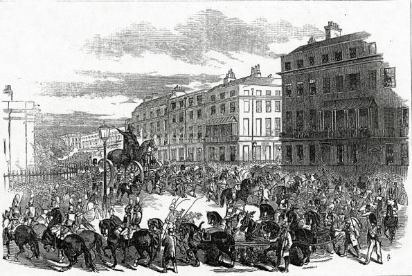 The Grand Procession of the Wellington Statue turning down Park Lane, published in the 'Illustrated London News', 3 October 1846