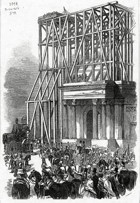Arrival of the Wellington Statue at the Arch, published in 'The Illustrated London News', 3rd October 1846