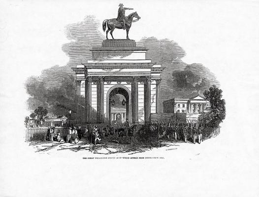 The Great Wellington Statue as it would appear from Constitution Hill, published in 'The Illustrated London News', 3rd October 1846