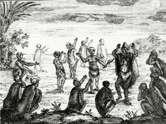 The Hottentots Worship the Moon, illustration from 'The Present State of the Cape of Good-Hope' by Peter Kolb, published 1731