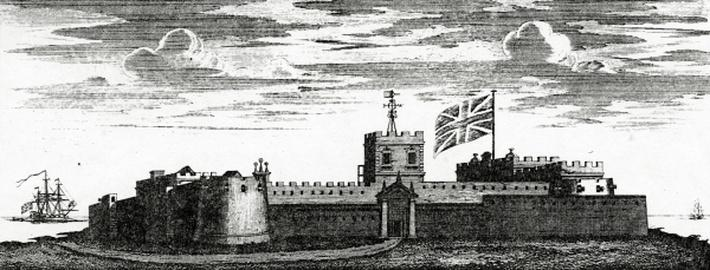 The North-West Prospect of Cape-Coast Castle, from 'Thirty different drafts of Guinea', published 1727