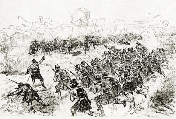The Black Watch charging the intrenchments at the Battle of Tel el-Kebir, published in 'The London Illustrated News', October 1882