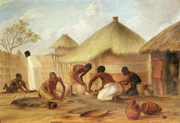 Manufacture of Sugar at Katipo - Making the panellas or pots to contain it, 1859
