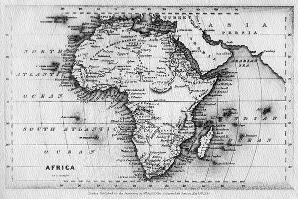 Map of Africa, engraved by Thomas Stirling, published by Edward Bull, 1830