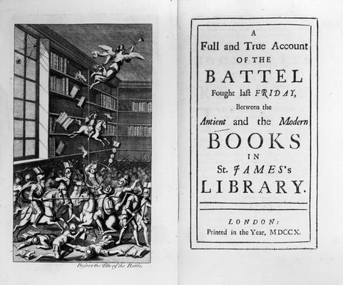 Frontispiece and titlepage to 'The Battle of the Books' by Jonathan Swift, published in 1710