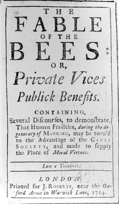 Titlepage for 'The Fable of the Bees' by Bernard de Mandeville, 1714