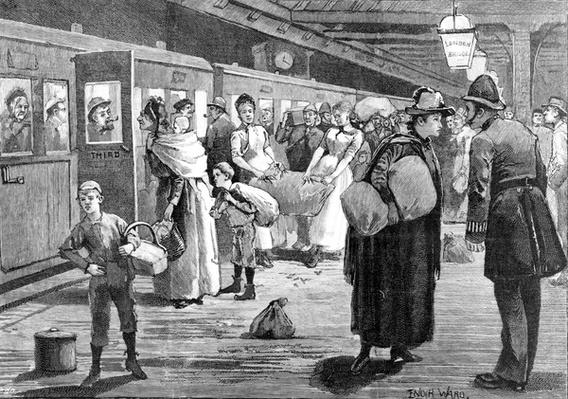 Hop-pickers starting from London Bridge railway station at midnight, 1891