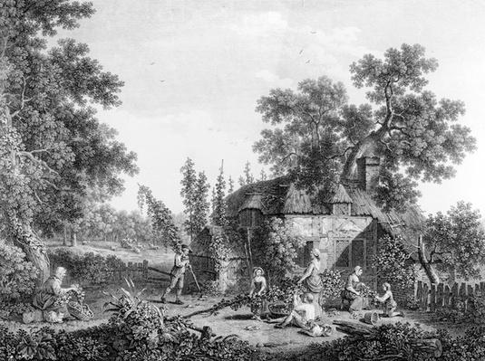 The Hop Pickers, etched by Francis Vivares, 1760