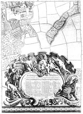 Inscription from Rocque's map of London, listing the city's Aldermen and their areas, 1746