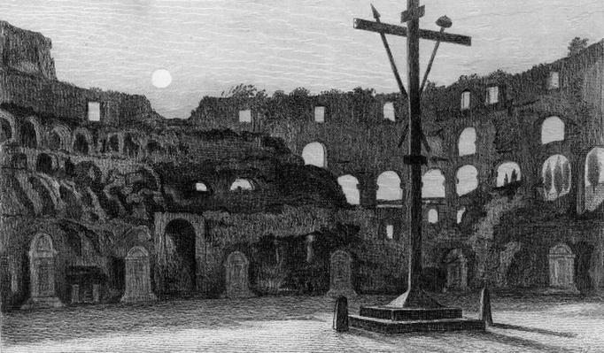 The Colisseum by Moonlight, engraved by Charles George Lewis