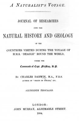 Titlepage to 'A Naturalist's Voyage Around the World' by Charles Darwin, edition published in 1884