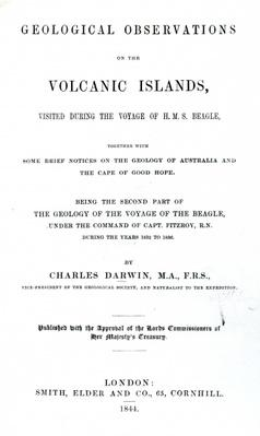 Titlepage to 'Geological Observations on the Volcanic Islands' by Charles Darwin, 1844