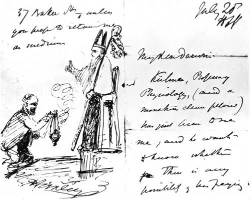 A letter from Thomas Henry Huxley to Charles Darwin, with a sketch of Darwin as a bishop or saint, July 20th, 1868
