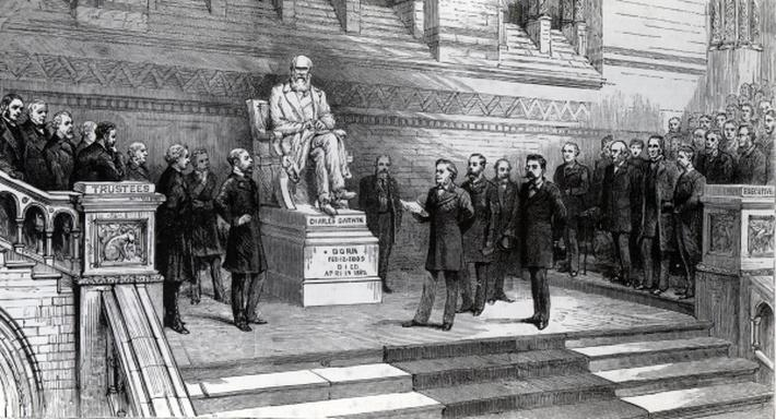 Unveiling the statue of the late Charles Darwin in the Natural History Museum, South Kensington, 9th June 1885