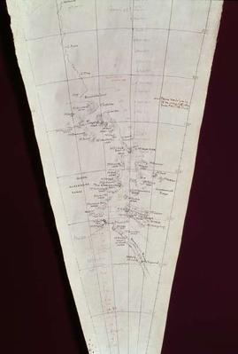 Section of Map from Ross Island to South Pole used on Antarctica Expedition, 1910-12