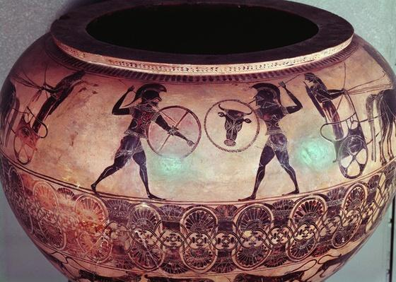 Dinos depicting Perseus and the Gorgons, detail showing Hoplites fighting between their chariots, c.580 BC