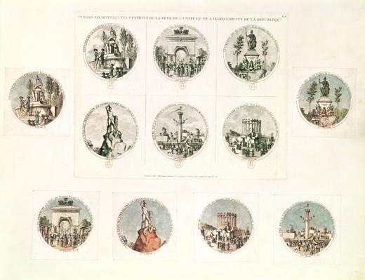 The six stations of the Festival of Unity and Indivisibility of the Republic, 10th August, 1793