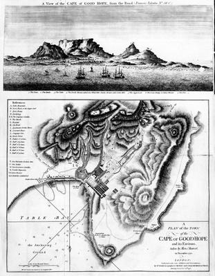 A View of the Cape of Good Hope and A Plan of the Town of the Cape of Good Hope and its Environs, published 1795