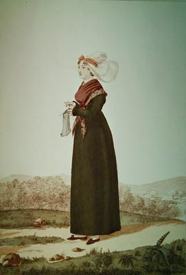 Female Costume from Coutances, engraved by Georges Jacques Gatine