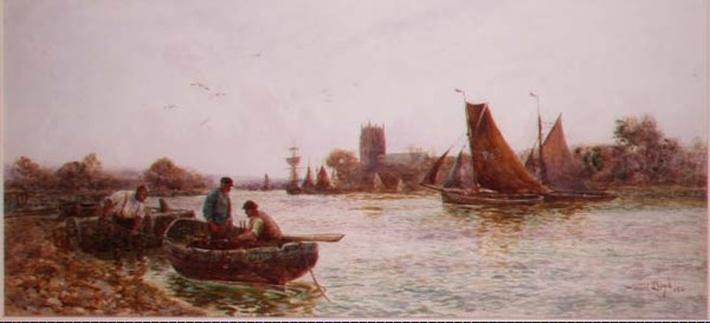 Fishermen near the Quay at Christchurch, Hampshire