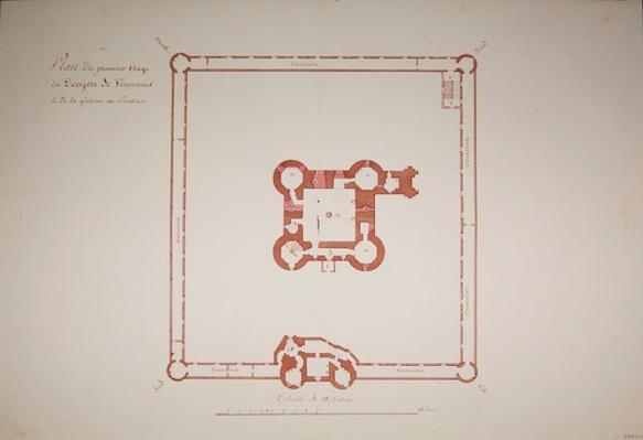 Plan for the first floor of the Donjon at Vincennes, 1810